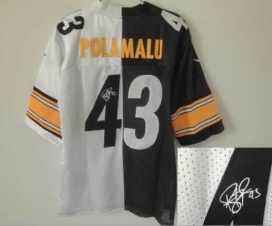 Pittsburgh Steelers #43 Polamalu Black&White Split Signed Elite Jersey