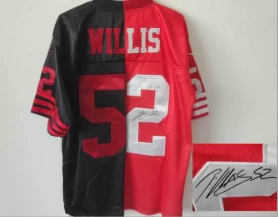 San Francisco 49ers #52 Willis Black&Red Split Signed Elite Jersey
