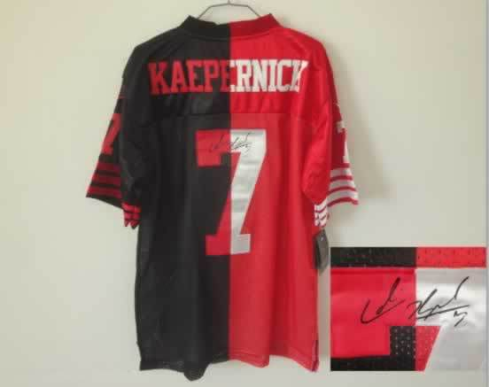 San Francisco 49ers #7 Kaepernick Black&Red Split Signed Elite Jersey