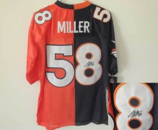 Denver Broncos #58 Miller Blue&Orange Split Signed Elite Jersey