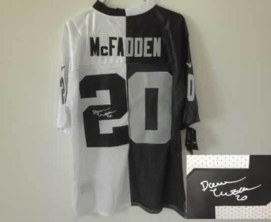 Oakland Raiders #20 McFadden Black&White Split Signed Elite Jersey