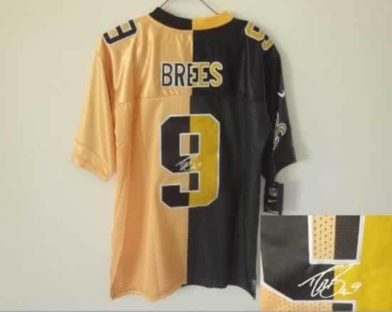 New Orleans Saints #9 Brees Black&Yellow Split Signed Elite Jersey