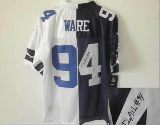 Dallas Cowboys #94 Ware Blue&White Split Signed Elite Jersey