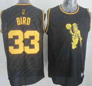 Boston Celtics #33 Larry Bird Revolution 30 Swingman 2014 Black With Gold Jersey
