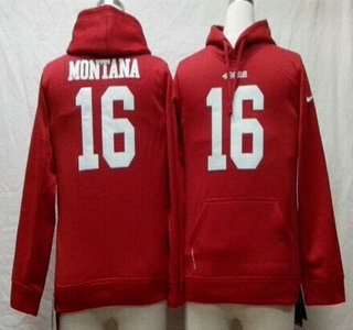Nike San Francisco 49ers #16 Joe Montana Red Kids Hoody