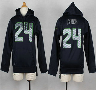 Nike Seattle Seahawks #24 Marshawn Lynch Navy Blue Kids Hoody