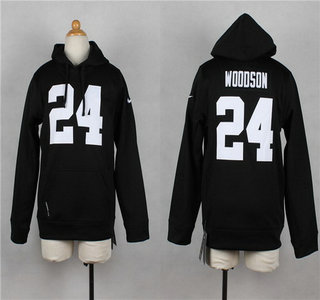 Nike Oakland Raiders #24 Charles Woodson Black Kids Hoody