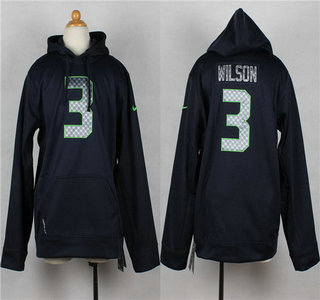 Nike Seattle Seahawks #3 Russell Wilson Navy Blue Kids Hoody