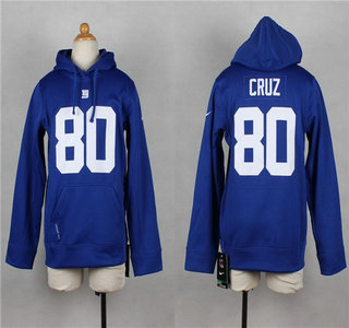 Nike New York Giants #80 Victor Cruz Blue Kids Hoody