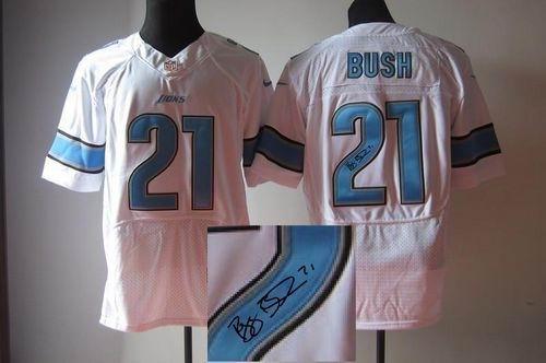 Detroit Lions #21 Reggie Bush White NFL Elite Autographed Jersey