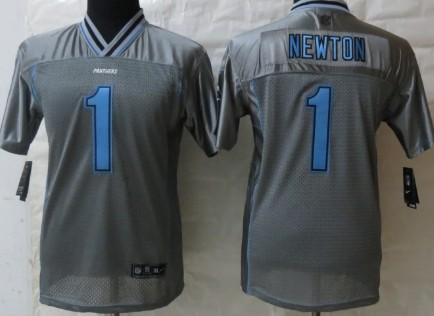 Nike Carolina Panthers #1 Cam Newton 2013 Gray Vapor Kids Jersey