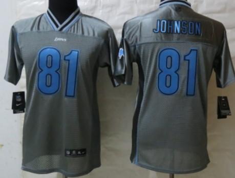 Nike Detroit Lions #81 Calvin Johnson 2013 Gray Vapor Kids Jersey
