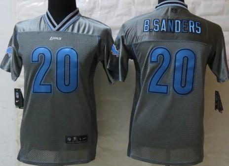 Nike Detroit Lions #20 Barry Sanders 2013 Gray Vapor Kids Jersey