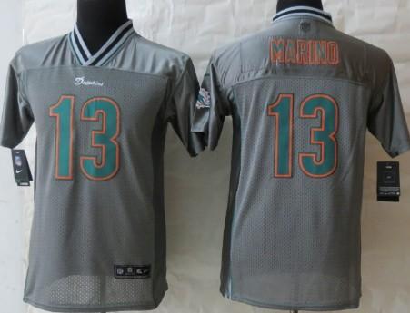 Nike Miami Dolphins #13 Dan Marino 2013 Gray Vapor Kids Jersey