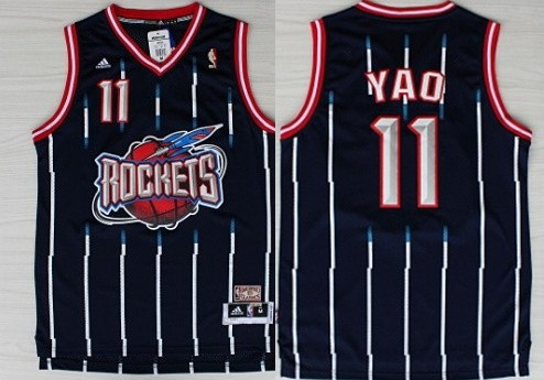 Houston Rockets #11 Yao Ming ABA Hardwood Classic Swingman Navy Blue Jersey