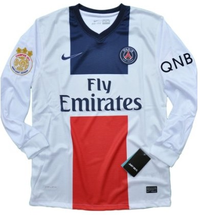 New 2013-14 Paris Saint Germain PSG Away Soccer LS jersey The champion 2013 paris patch and QNB sponsor Can Custom Any Number And Name