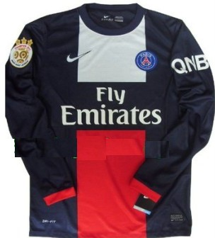New 2013-14 Paris Saint Germain PSG Home Soccer LS jersey The champion 2013 paris patch and QNB sponsor Can Custom Any Number And Name