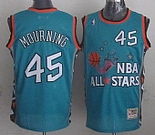 Mitchell And Ness Heat #45 Alonzo Mourning Light Blue 1996 All star Stitched NBA Jersey