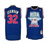 Lakers #32 Magic Johnson Blue 1992 All Star Throwback NBA Jersey