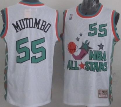 NBA 1996 All-Star #55 Dikembe Mutombo White Swingman T