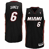 Miami Heat #6 LeBron James Black Revolution 30 (Miami) Stitched NBA Jersey