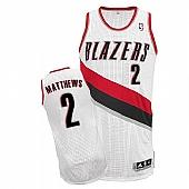Revolution 30 Blazers #2 Wesley Matthews White Stitched NBA Jersey
