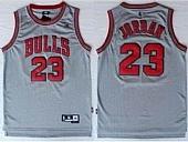 Revolution 30 Chicago Bulls #23 Michael Jordan Grey Stitched NBA Jersey