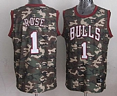 Bulls #1 Derrick Rose Camo Stealth Collection Stitched NBA Jersey