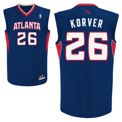 Kyle Korver Authentic In White Adidas NBA Atlanta Hawks #26 Men's Home Blue Jersey