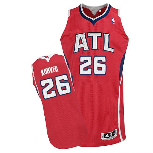 Kyle Korver Authentic In White Adidas NBA Atlanta Hawks #26 Men's Home Red Jersey