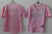 Cardinals #45 Bob Gibson Pink Women's Fashion Stitched Baseball Jersey