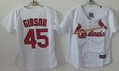 Cardinals #45 Bob Gibson White Women's Home Stitched Baseball Jersey