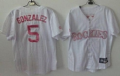 Rockies #5 Carlos Gonzalez White(Pink Strip) Women's Fashion Stitched Baseball Jersey