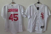 White Sox #45 Michael Jordan White(Pink Strip) Women's Fashion Stitched Baseball Jersey