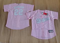 Los Angeles Dodgers #22 Clayton Kershaw Pink women jersey