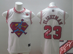 Revolution 30 Chicago Bulls #23 Flightman white Signed Stitched NBA Jersey