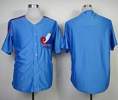 Mitchell And Ness Expos Blank Blue Throwback Stitched Baseball Jersey