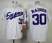 Mitchell and Ness 1982 Expos #30 Tim Raines White Blue Strip Stitched Throwback Baseball Jersey