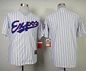 Mitchell And Ness Expos Blank White(Blue Strip) Throwback Stitched Baseball Jersey