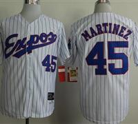 Montreal Expos #45 Pedro Martinez White(Black Strip) Mitchell And Ness 1982 Throwback Stitched Baseball Jersey