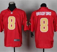 New St.Louis Rams #8 Sam Bradford Red NFL Elite QB Practice Jersey