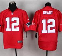 New England Patriots #12 Tom Brady Red NFL Elite QB Practice Jersey