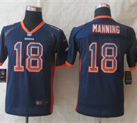 Youth 2014 New Denver Broncos 18 Manning Drift Fashion Blue Elite Jerseys