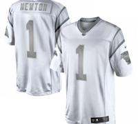 New Carolina Panthers #1 Cam Newton White Platinum Jersey