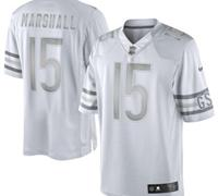 New Chicago Bears #15 Brandon Marshall White Platinum Jersey