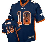 Youth NEW Broncos #18 Peyton Manning Blue NFL Elite Drift Fashion Jersey