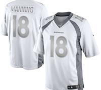 New Denver Broncos #18 Peyton Manning White Platinum Jersey