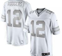 New Green Bay Packers #12 Aaron Rodgers White Platinum Jersey