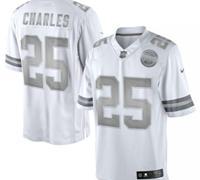 New Kansas City Chiefs #25 Jamaal Charles White Platinum Jersey