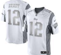 New New England Patriots #12 Tom Brady White Platinum Jersey